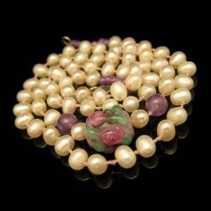 Vintage Rice Pearls Necklace Mid Century Purple Art Glass Lampwork Bead Knotted Strand