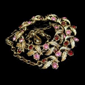 CORO Vintage Rhinestone Necklace Mid Century Choker Red Pink Rhinestones