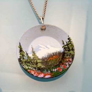 Vintage Pendant Necklace Signed Miniature Art Metal Hand Painted Mountain Scene Detailed