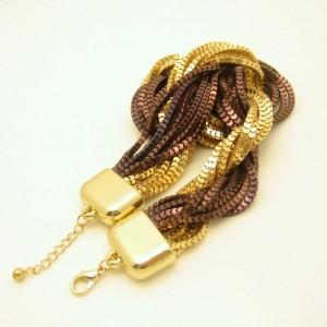 Vintage Torsade Necklace Mixed Metals 2 Colors Multi 14 Strand Extra Wide