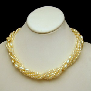 Vintage Necklace Faux Pearls Mid Century 5 Multi Strands Torsade Style Bridal Classic