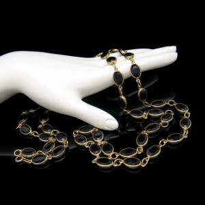 Vintage Necklace Mid Century Black Bezel Set Crystals Extra Long 41in Single Double Strand