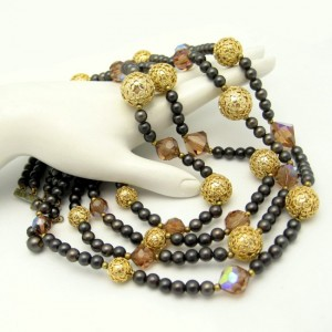 Vintage Crystal Beads Necklace Mid Century Swarovski Topaz Glass 4 Multi Strand Chunky