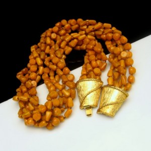 Vintage Torsade Necklace 6 Strands Mid Century Butterscotch Beads Chunky Yellow Acrylic