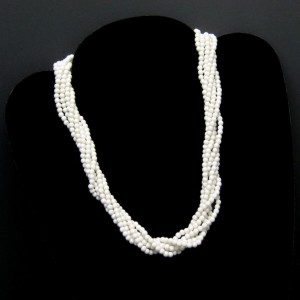 Vintage Torsade Necklace Mid Century White Acrylic Beads 6 Multi Strands Classic Design