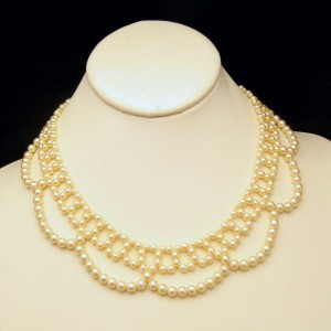 Vintage Faux Pearls Necklace Mid Century Lacy Collar Style Adjustable Length Pretty