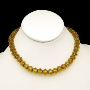 Art Deco Czech Crystal Yellow Glass Beads Vintage Necklace Large Aspirin