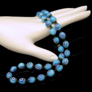 Vintage Millefiori Cane Beads Necklace Mid Century Rare Aqua Blue Knotted Unique