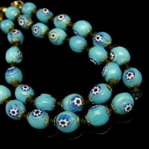 Vintage Millefiori Cane Beads Necklace Mid Century Rare Aqua Blue Knotted Unique