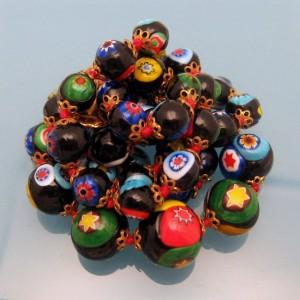 Vintage Venetian Millefiori Necklace Mid Century Art Glass Beads Black Multi Knotted Cane