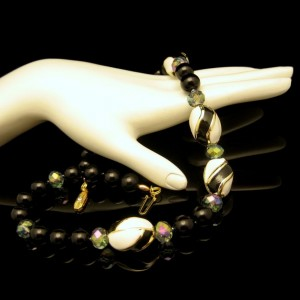 Vintage Necklace Mid Century Black Glass White Enamel Gray Crystal Very Classy