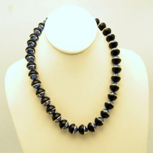 Vintage Necklace Mid Century Chunky Blue Black Glass Beads Half Spheres Very Unique