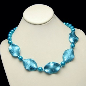 Vintage Faux Pearls Necklace Aqua Blue Glass Iridescent Discs Unique Design