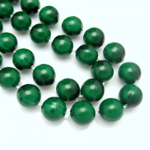 Mid Century Dark Green Beads Vintage Necklace Chunky Large 14mm Pretty 29 inches Long
