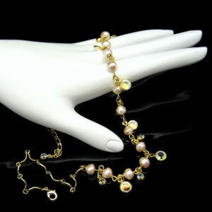 Vintage Necklace Mid Century Bezel Set Clear Crystals Faux Pearls Rhinestones Elegant