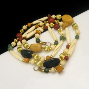 Vintage Necklace Mid Century Large Agate Polished Stone Beads Natural Chunky Pretty