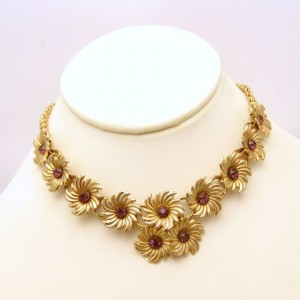 Vintage Rhinestone Necklace Mid Century Choker Purple Rhinestone Flower Links