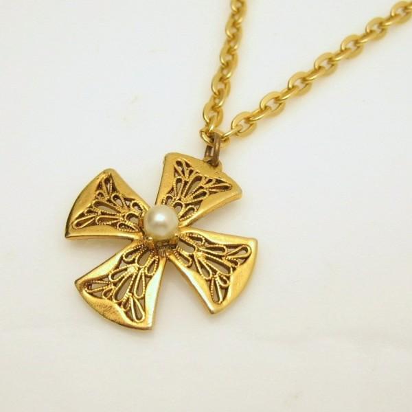 Vintage Maltese Cross Faux Pearl Pendant Necklace Mid