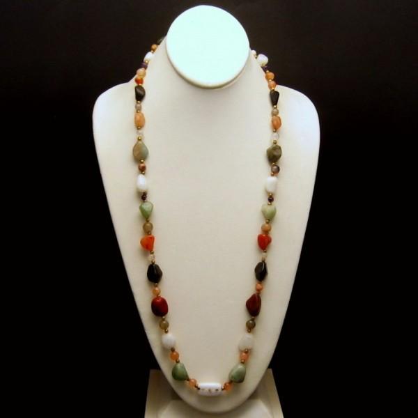 Vintage Necklace Mid Century Polished Agate Stones Multi