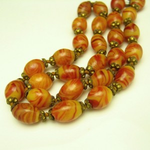 1930s Art Deco Czech or Italian Art Glass Beads Vintage Necklace Yellow Brown Knotted Strand