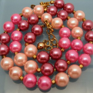 Mid Century Vintage Necklace Pink Pastels Glass Faux Pearls Beads Adjustable Pretty Colors
