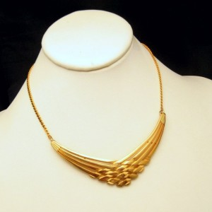 Vintage Pendant Necklace Mid Century Woven V Neck Gold Plated Elegant Unique Design