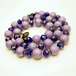 Vintage Beads Crystals Necklace Mid Century Chunky Textured Purple Lavender Blue Unique Striking