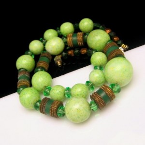 Art Deco Style Green Glass Beads Vintage Necklace Mid Century Mottled Brass Crystal Large Chunky