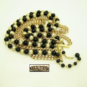 JAPAN Vintage Necklace Mid Century 4 Multi Strand Beads Black Goldtone Fluted Chunky