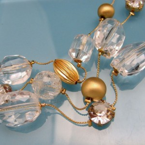 Vintage Necklace 3 Strand Chunky Lucite Faux Crystal Beads Matte Goldtone