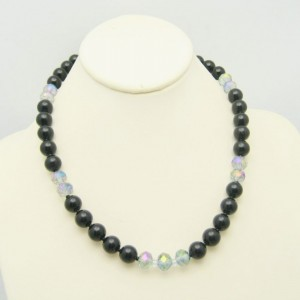 Vintage Necklace Mid Century Black Faux Onyx Glass AB Crystals Beads Elegant