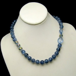Vintage Necklace Blue Crackle Glass Beads AB Crystals Silver Plated Chunky