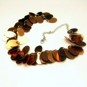 Vintage Collar Necklace Shimmery Copper Colored Discs Light Weight Stylish
