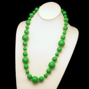 Vintage Necklace Mid Century Large Chunky Bright Green Beads Long 26.5 Inches