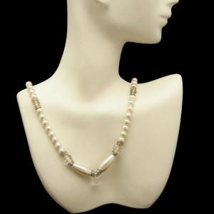 Vintage Faux Pearl Necklace Mid Century Crystal Pendant Rhinestone Rondelles Teardrops