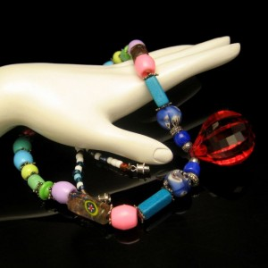 Vintage Necklace Mid Century Glass Acrylic Beads Lucite Pendant Chunky Multi Colors Striking