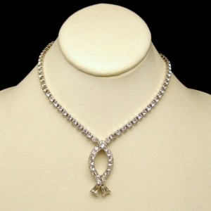 Vintage Rhinestone Necklace Mid Century Fish Pendant Prong Set Quality Stones