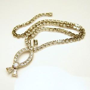 Vintage Rhinestone Necklace Mid Century Fish Pendant Prong Set Quality Stones