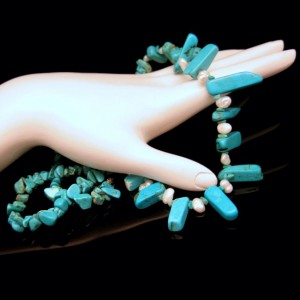 Vintage Bib Necklace Genuine Turquoise River Pearls Dangles Very Pretty