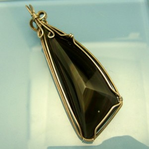 Large OBSIDIAN Sterling Silver Vintage Pendant Mid Century Wire Wrap Artisan Unique Stone