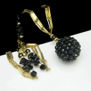 CROWN TRIFARI Vintage Necklace Mid Century Black Crystal Pendant Glass Beads Long