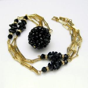 CROWN TRIFARI Vintage Necklace Mid Century Black Crystal Pendant Glass Beads Long