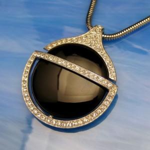 CROWN TRIFARI Vintage Black Lucite Pendant Necklace Mid Century Rhinestones Faux Onyx Large