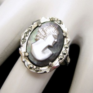 830 Silver Carved Shell Cameo Vintage Ring Abalone Marcasites Size 6.5