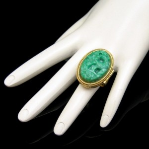 AVON Vintage Cocktail Ring Mid Century Faux Jade Carved Lucite Large Perfume Poison