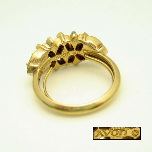 Avon Vintage Cocktail Ring Mid Century Topaz Glass