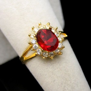 Vintage Rhinestones Cocktail Ring Mid Century Red Glass Solitaire Size 7