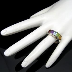 Sterling Silver 925 Channel Set Five 5 Gemstones Vintage Ring Colorful Size 8.25