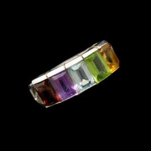 Sterling Silver 925 Channel Set Five 5 Gemstones Vintage Ring Colorful Size 8.25
