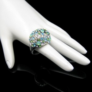 Mid Century Large Dome Vintage Cocktail Ring Blue Green Rhinestone